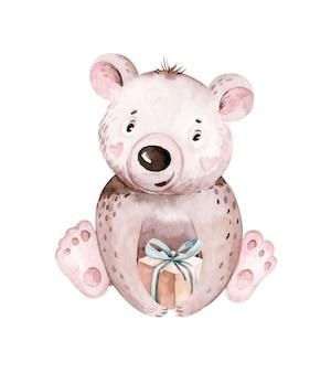 Słodkie dziecko urodziny przedszkole akwarela niedźwiedź zwierzę na białym tle ilustracja baby shower