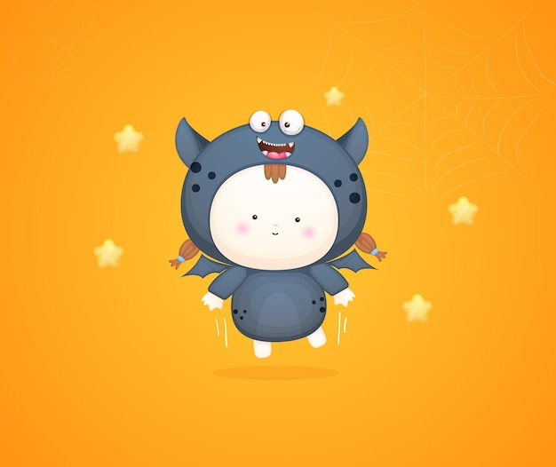 Słodkie dziecko w kostium na halloween. ilustracja kreskówka maskotka premium wektorów