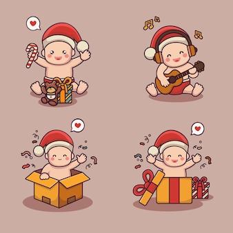 Słodkie dziecko w stroju bożonarodzeniowym