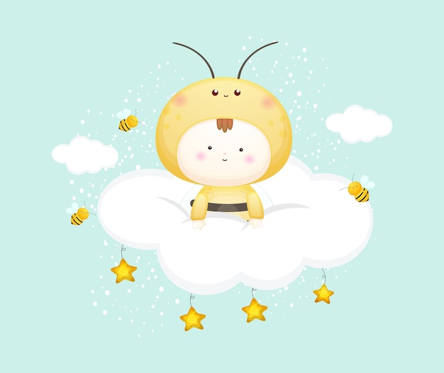 Słodkie dziecko w stroju pszczół na chmurze. ilustracja kreskówka maskotka premium wektorów
