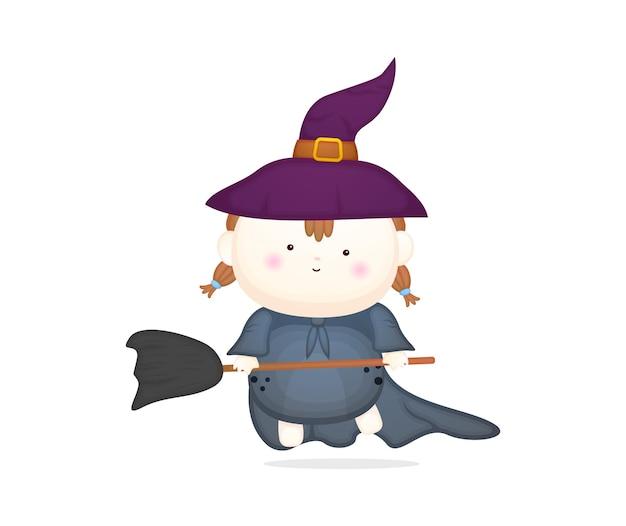 Słodkie dziecko w stroju wiedźmy z miotłą. kostium halloween premium wektor