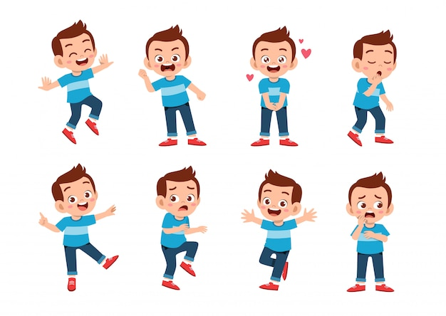 Słodkie dziecko z wielu wyrażeń gestów