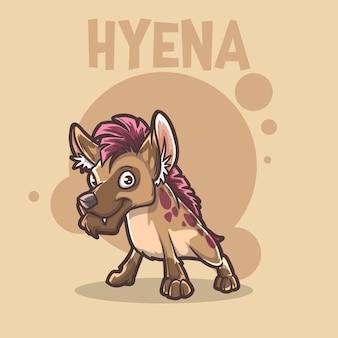 Słodkie dziecko zwierzę hiena pies dzikość maskotka kreskówka logo postać edytowalna
