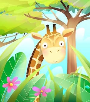 Słodkie dziecko żyrafa w przyrodzie sawanny z trawą, liśćmi i drzewami. kolorowa ilustracja przyrody dla dzieci przedszkole druku lub projekt karty z pozdrowieniami. wektor kreskówka w stylu przypominającym akwarele.
