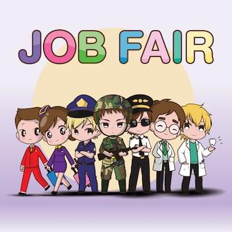 Słodkie dzieło sztuki job fair cartoon.