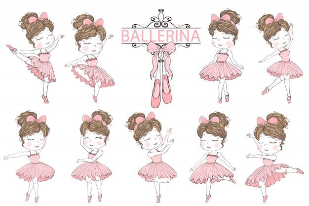 Słodkie dziewczyny baleriny ręcznie rysowane elementy clipartów ilustracji