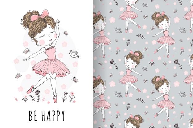Słodkie dziewczyny baleriny ręcznie rysowane ilustracja i wzór