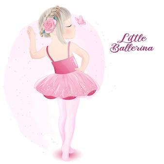 Słodkie dziewczyny baleriny z akwarela ilustracja