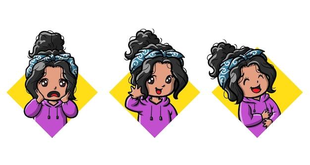 Słodkie dziewczyny emotikony kreskówka