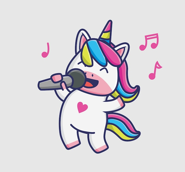 Słodkie dziewczyny jednorożca śpiewają. koncepcja kreskówka natura zwierząt ilustracja na białym tle. płaski styl nadaje się do naklejki ikona design premium logo wektor. postać maskotki