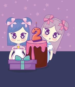 Słodkie dziewczyny kawaii z kartą urodzinową ciasta