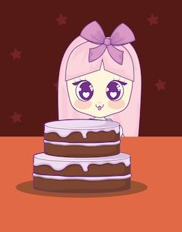 Słodkie dziewczyny kawaii z tort urodzinowy