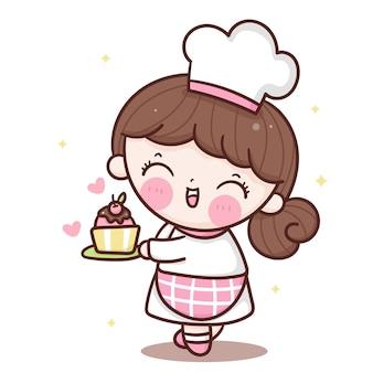 Słodkie dziewczyny kreskówka kucharz trzyma tort urodzinowy w stylu kawaii