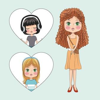 Słodkie Dziewczyny Kreskówki Premium Wektorów