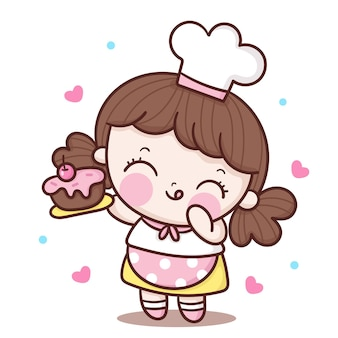 Słodkie dziewczyny kucharz kreskówka trzymając postać kawaii tort urodzinowy