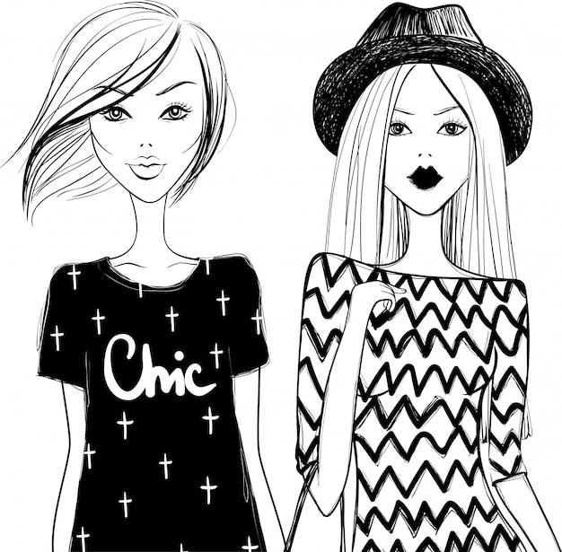 Słodkie dziewczyny mody. stylowa kobieta. wektorowe dziewczyny. młoda dziewczyna. modne modele.