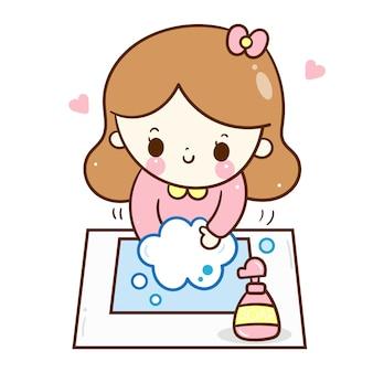 Słodkie dziewczyny mycie rąk dziecko kreskówka