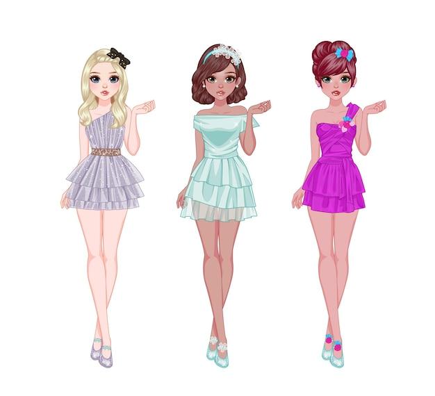 Słodkie dziewczyny pozy i elegancja sukienki w stylu
