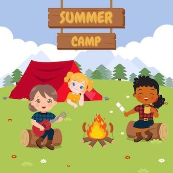 Słodkie dziewczyny relaksujące pole kempingowe ilustracja obóz letni płaski wektor kreskówka projekt