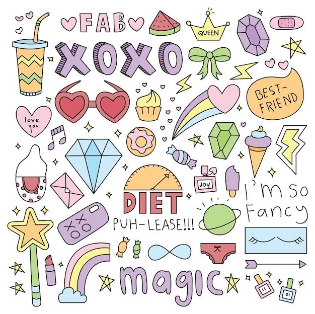 Słodkie dziewczyny rzeczy doodle element
