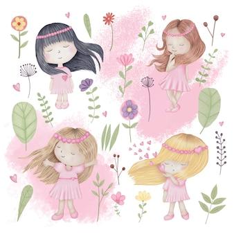 Słodkie dziewczyny z kwiatami