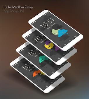 Słodkie ekrany aplikacji weather moile na smartfonach 3d