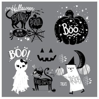 Słodkie elementy ręcznie rysowane halloween