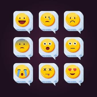 Słodkie emotikony reakcje sieci społecznościowych emotikony