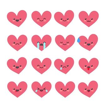 Słodkie emotikony serca ustawiają różne emocje kolekcji postaci walentynkowy awatar