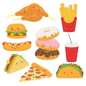 Słodkie fast food z kolekcji śmieszne twarze wektor