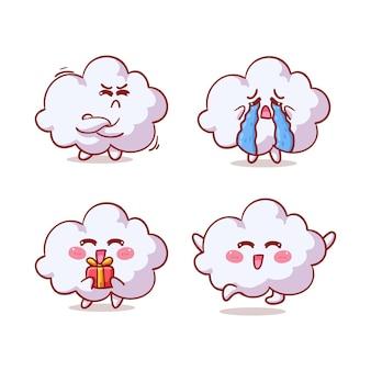 Słodkie i kawaii chmura na białym tle