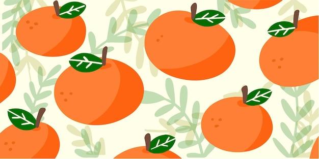 Słodkie i losowe pomarańcze wzór tła doodle