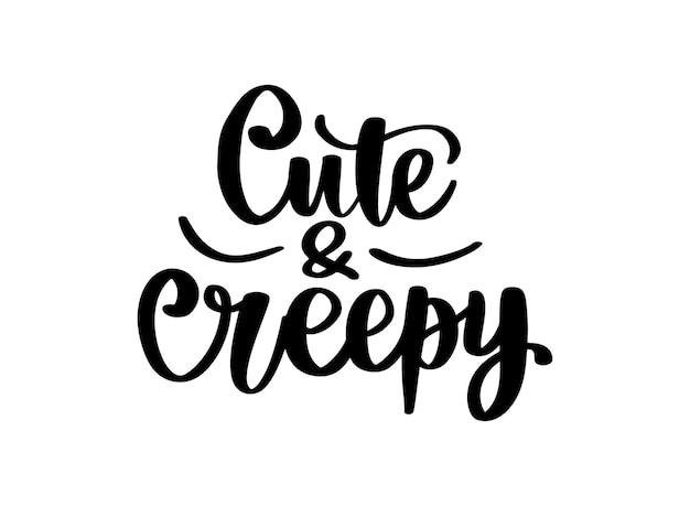 Słodkie i przerażające - cytaty halloween vector. ręcznie rysowane napis frazę. nowoczesna kaligrafia pędzla. 31 października