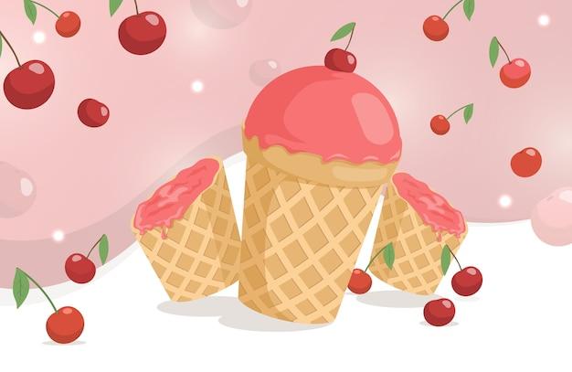 Słodkie i pyszne lody wiśniowe w kubku waflowym