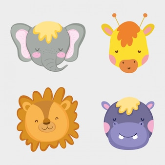 Słodkie i szczęśliwe głowy dzikich zwierząt