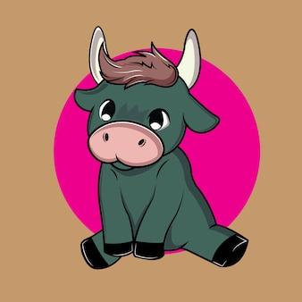 Słodkie i urocze dziecko byka