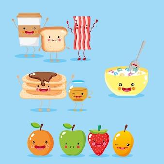 Słodkie i zabawne ikony śniadanie uśmiechnięte