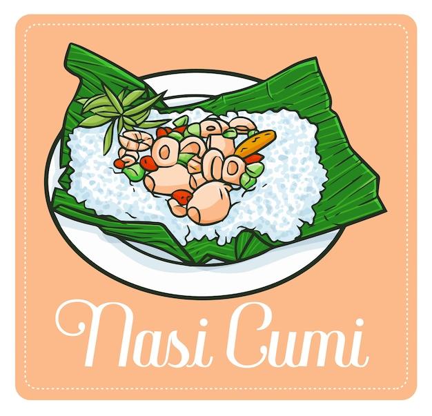"""Słodkie i zabawne pyszne """"nasi cumi"""", tradycyjne danie z kalmarów z indonezji"""