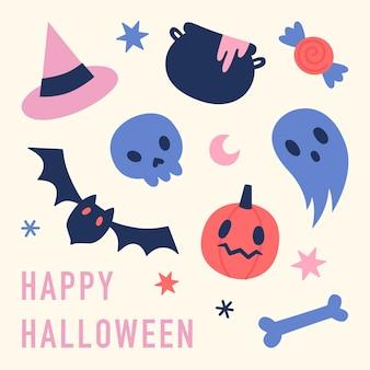 Słodkie i zabawne ręcznie rysowane symbole halloween ilustracji wektorowych