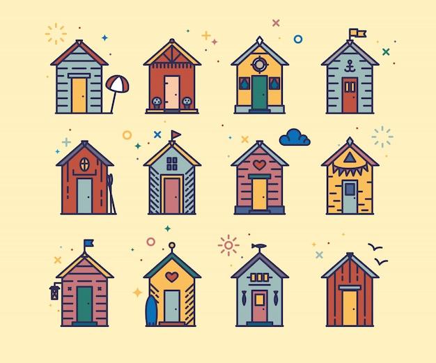 Słodkie ikony chaty na plaży