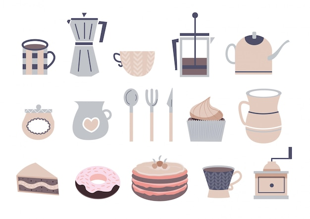 Słodkie ikony kawy
