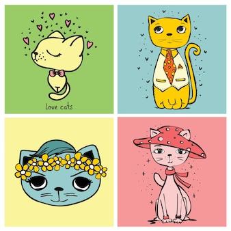 Słodkie ilustracje kart z ilustracją wektorową ładnych kotów