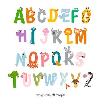 Słodkie ilustracje liter zwierząt