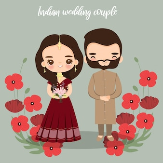 Słodkie indyjskie panny młodej i pana młodego na karty zaproszenia ślubne