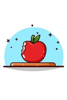 Słodkie jabłko wektor ikona ilustracja kreskówka
