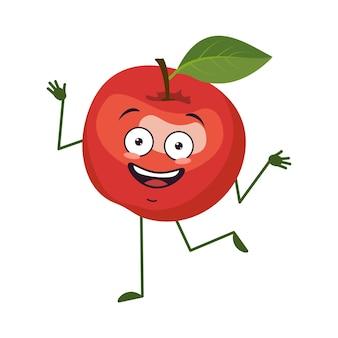 Słodkie jabłko, wesoła postać z emocjami, tańcem, rękami i nogami. zabawny, szczęśliwy lub uśmiechnięty bohater, czerwony owoc. płaskie ilustracji wektorowych
