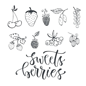 Słodkie jagody ręcznie rysowane ilustracji. wektor odizolowywający jagodowy ustawiający na białym tle