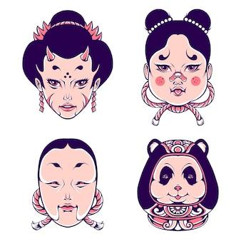 Słodkie japońskie gejsze