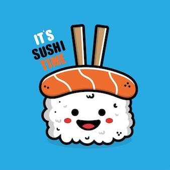Słodkie japońskie jedzenie sushi ilustracja kreskówka