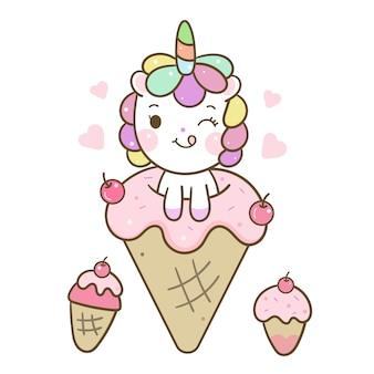 Słodkie jednorożec wektor miłość kreskówka lody
